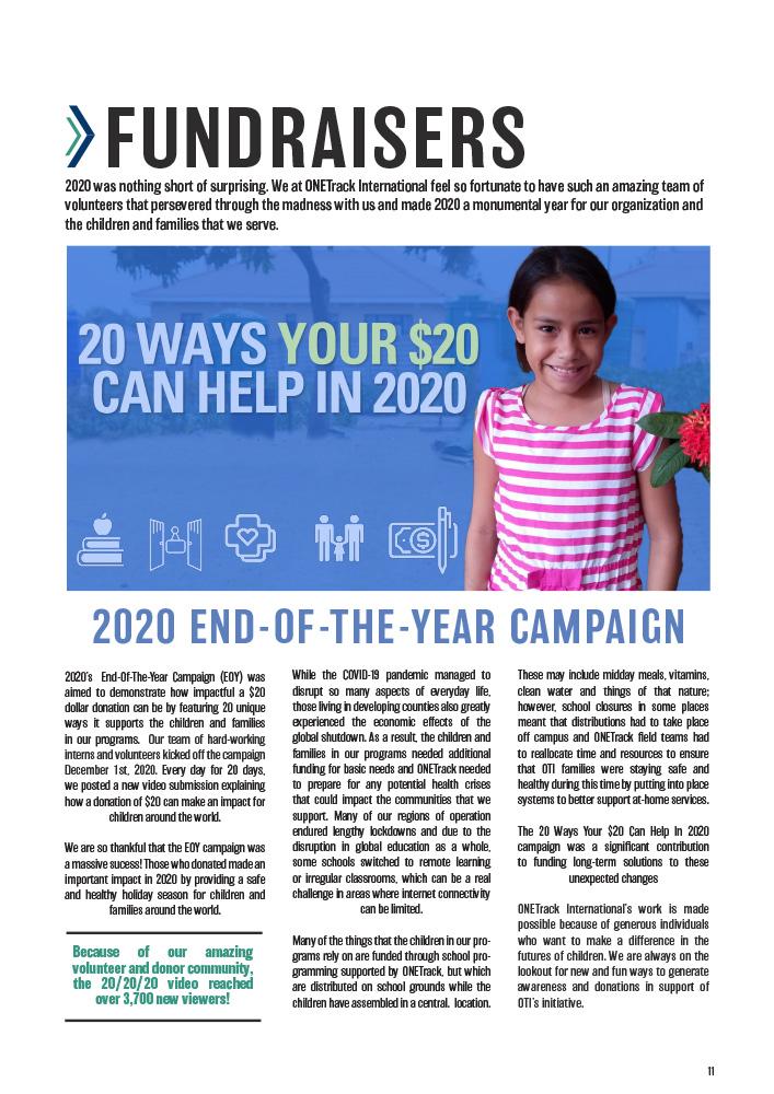 ONETrack International - 2020 Impact Report - Fundraisers