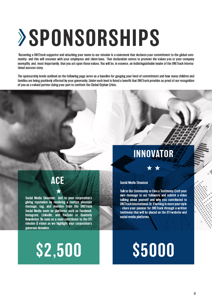 ONETrack International - 2020 Impact Report - Sponsorships