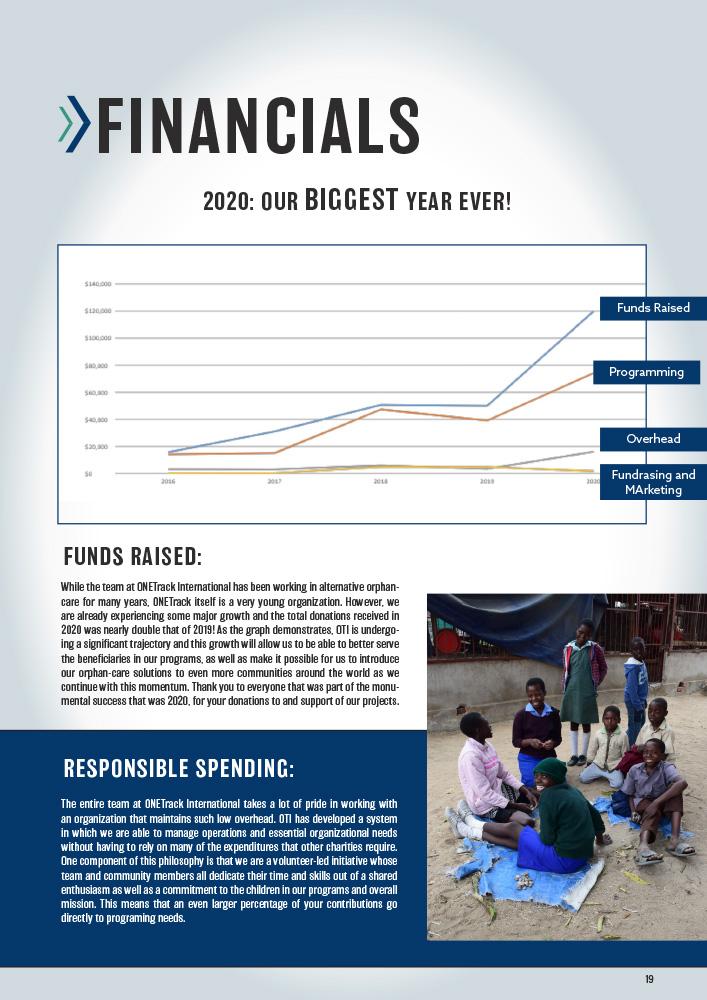 ONETrack International - 2020 Impact Report - Financials