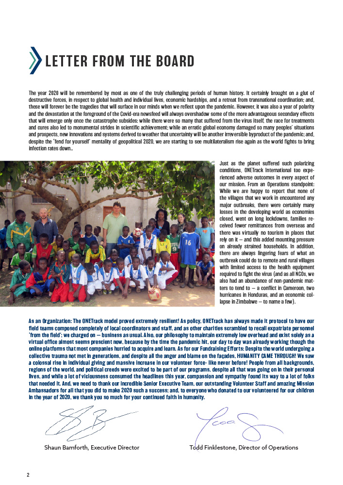 ONETrack International - 2020 Impact Report - Letter From The Board