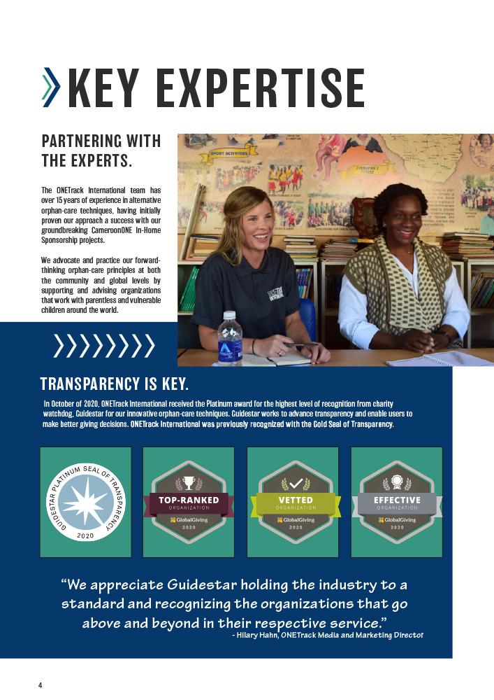 ONETrack International - 2020 Impact Report - Key Expertise